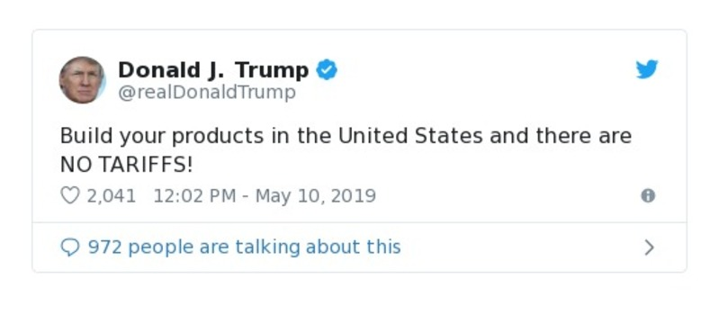 991487285053 Build your products in the United States and there are NO TARIFFS!