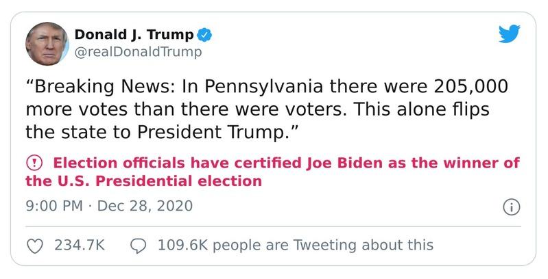 Trump tẩu hỏa nhập ma khi nói có 205,000 phiếu bầu nhiều hơn số cử tri 1343663159085834248